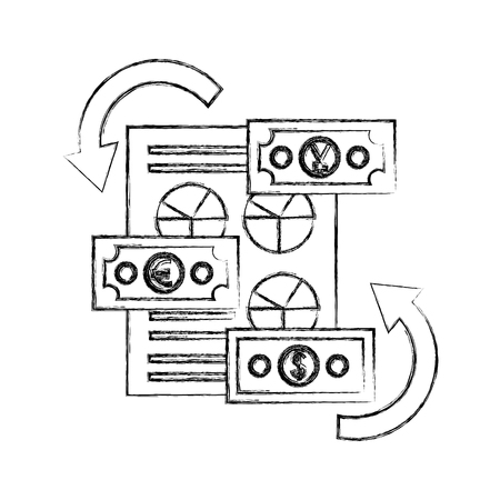 Informe financiero del dólar financiero del dólar 3d del ejemplo del vector del gráfico de la mano del apretón de manos Foto de archivo - 107018982