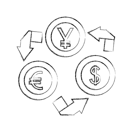 currency coins money yen dollar euro foreign exchange vector illustration hand drawing  イラスト・ベクター素材