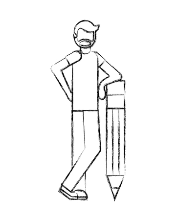 bearded man standing with big wooden pencil creativity vector illustration hand drawing