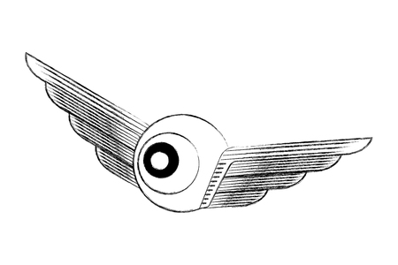 creativity wings eye design idea image vector illustration hand drawing Illustration