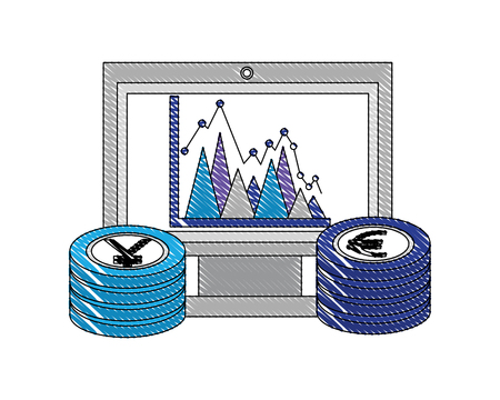 computer chart euro and yen coins foreign exchange vector illustration Иллюстрация