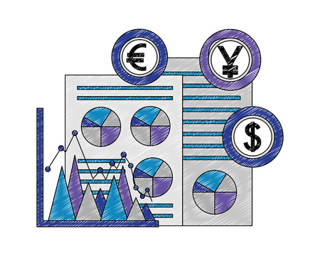 business document yen euro dollar chart foreign exchange vector illustration