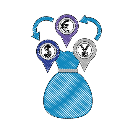 money bag euro dollar yen currency coins foreign exchange vector illustration