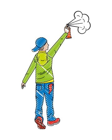 Hombre de artista de graffiti con pintura en aerosol ilustración vectorial