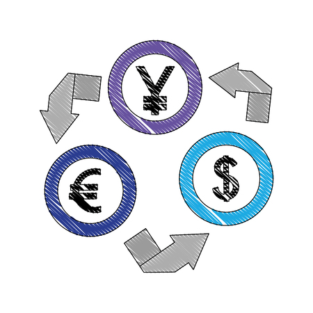 currency coins money yen dollar euro foreign exchange vector illustration