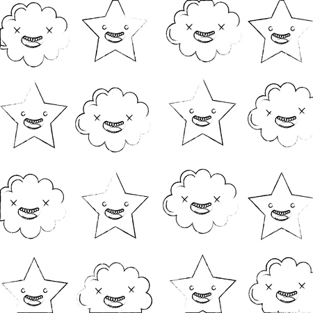 kawaii cloud star cartoon characters pattern vector illustration hand drawing