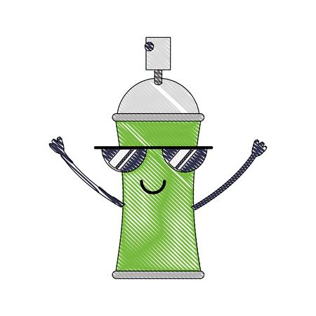 kawaii cartoon spray canister paint vector illustration