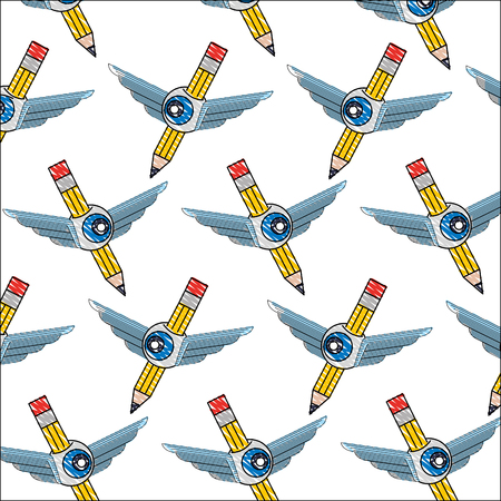 creativity pencil wing eye background pattern vector illustration