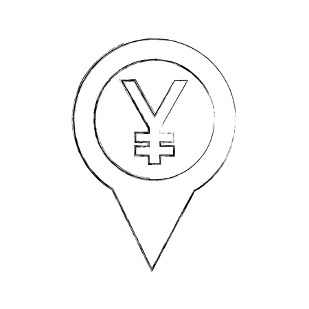 japanese yen currency pointer location vector illustration hand drawing