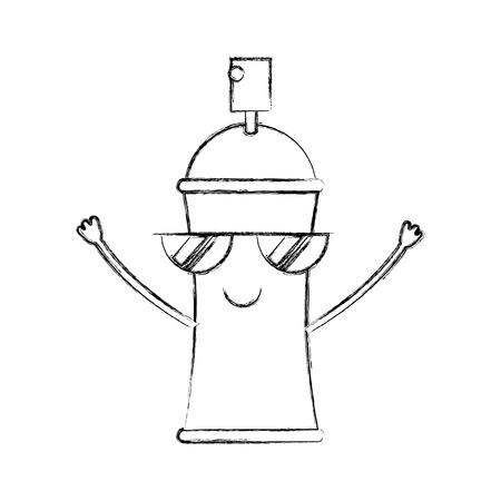 kawaii cartoon spray canister paint vector illustration hand drawing