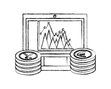 computer chart euro and yen coins foreign exchange vector illustration hand drawing