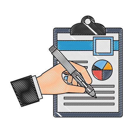 hand writing with fountain pen on document clipboard vector illustration Ilustração