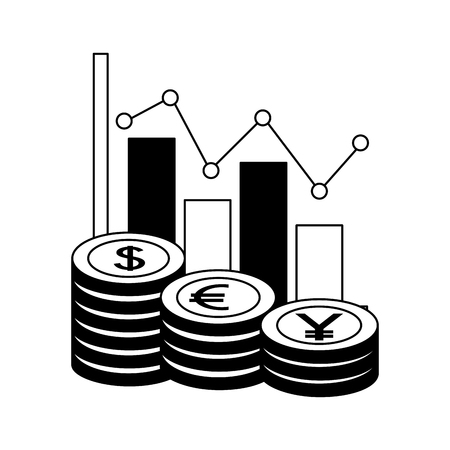 dollar euro and yen business statistics bars vector illustration design