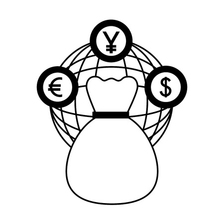 dollar euro and yen business with money bag vector illustration design Иллюстрация