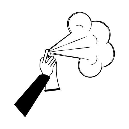 main avec la conception d & # 39; illustration vectorielle bouteille de peinture en aérosol
