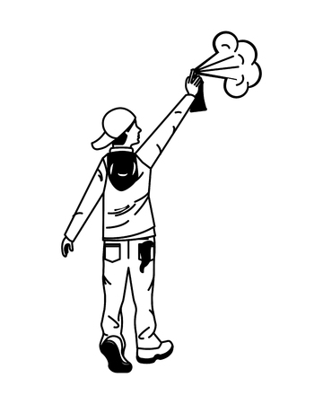 young man graffiti style with spray bottle vector illustration design Illustration