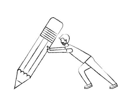 beard man pushing pencil creativity concept vector illustration hand drawing
