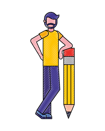 bearded man standing with big wooden pencil creativity vector illustration Ilustração