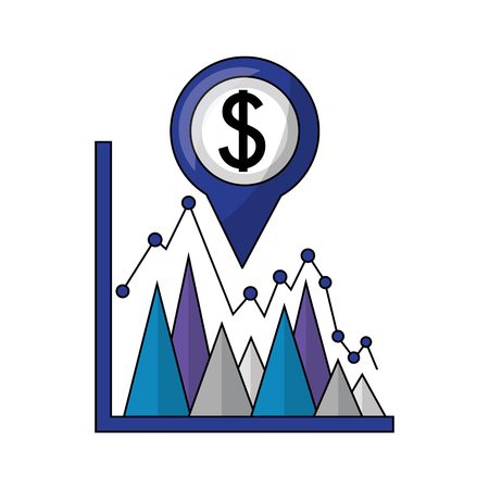 business statistics dollar currency pin location foreign exchange vector illustration