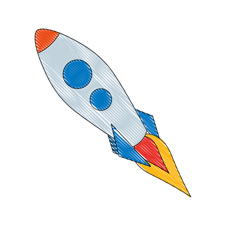 rocket launch spaceship travel discovery vector illustration