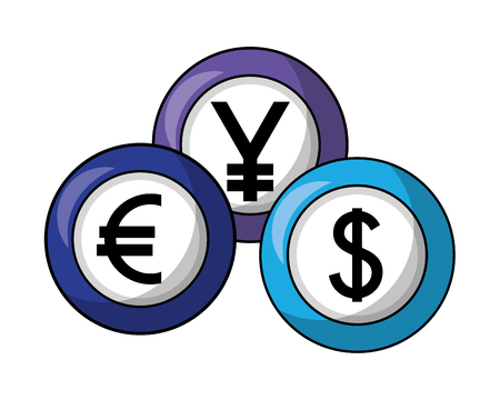 foreign exchange currency coins yen euro dollar vector illustration Illustration