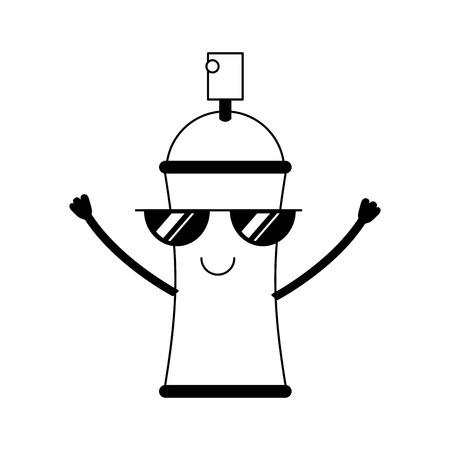 Bouteille de peinture en aérosol caractère kawaii vector illustration design