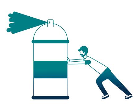 designer man pushing spray canister painting creativity vector illustration neon image Illustration