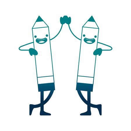 happy   creative pencils holding hands vector illustration neon image