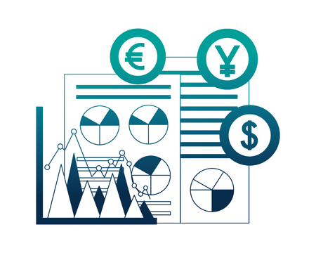 dollar euro and yen business with documents vector illustration design