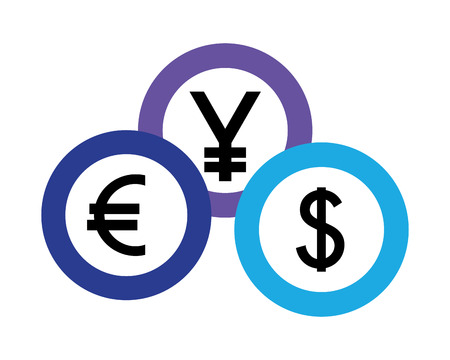 foreign exchange currency coins yen euro dollar vector illustration Çizim