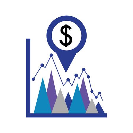 Geschäftsstatistik Dollar Währung Pin Standort Devisen Vektor Illustration