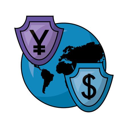 Ilustración de vector de progreso de progreso de negocios y monedas de divisas 100 por ciento Foto de archivo - 107025900