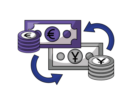 foreign exchange bills yen and euro coins stacked currency vector illustration
