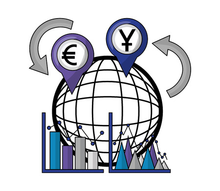 business statistics diagram world currency foreign exchange vector illustration