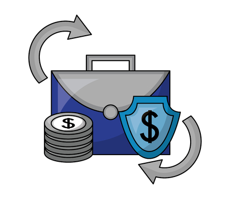 business briefcase shield dollar coins foreign exchange vector illustration