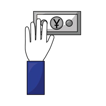 hand holding banknote yen money cash vector illustration