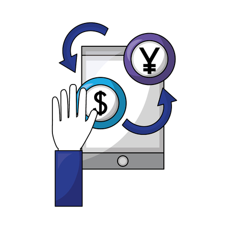 hand with smartphone dollar and yen coins foreign exchange vector illustration