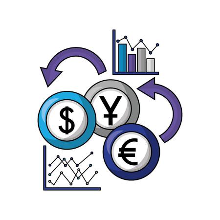 business statistics report coins foreign exchange vector illustration Banque d'images - 111662643