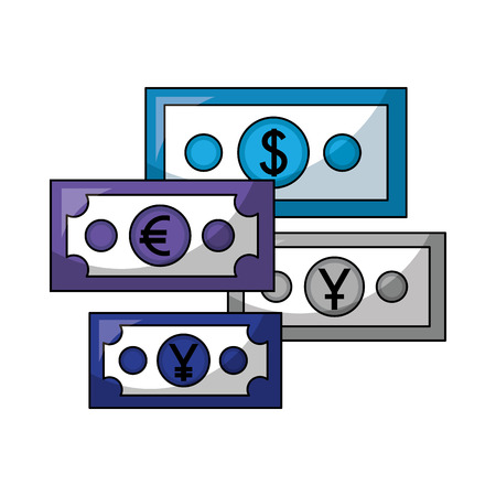 business economy banknote dollar euro yen money vector illustration Stock Vector - 111662645