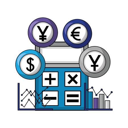 business calculator diagrams chart coins money vector illustration Foto de archivo - 111662646