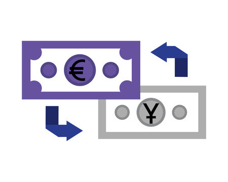 foreign exchange money banknote yen euro transfer vector illustration