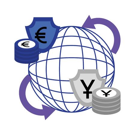 Ilustración de vector de oro de comercio de negocios de 100 por ciento de mercado de divisas Foto de archivo - 107025904