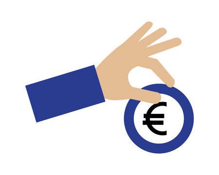 hand holding coin euro currency money vector illustration