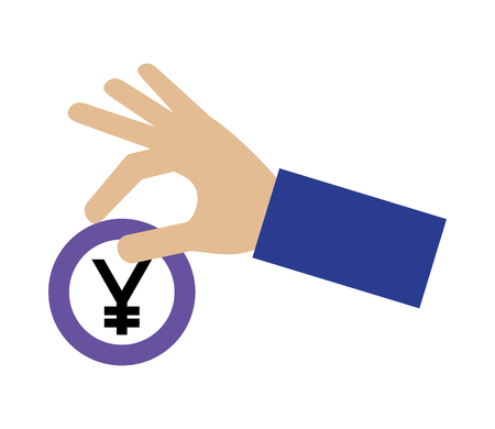 hand holding coin yen currency money vector illustration