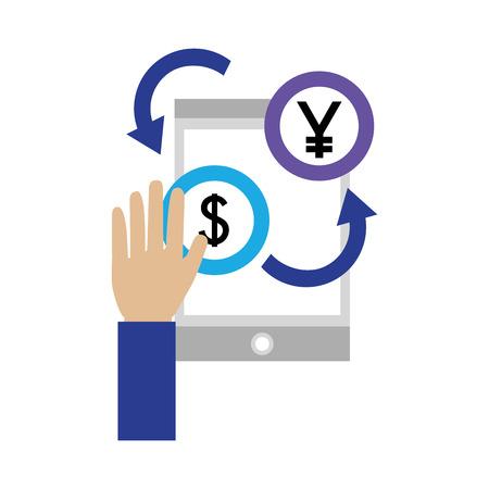 Hand mit Smartphone-Dollar- und Yen-Münzen-Devisen-Vektor-Illustration Vektorgrafik