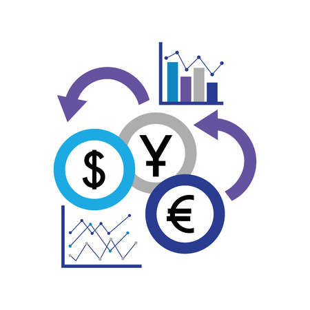 bedrijfsstatistieken rapporteren munten buitenlandse valuta vectorillustratie
