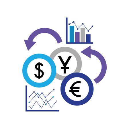 le statistiche aziendali riportano le monete in valuta estera illustrazione vettoriale