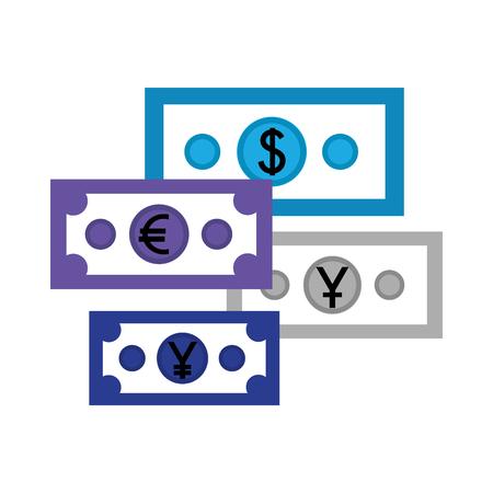 business economy banknote dollar euro yen money vector illustration Illustration