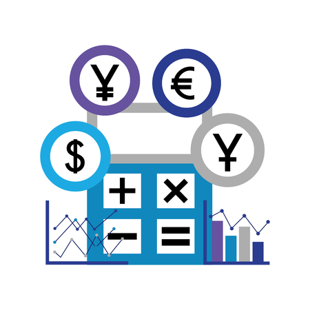 business calculator diagrams chart coins money vector illustration 스톡 콘텐츠 - 111662668