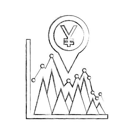 yen economy in pin pointer with statistical graphic vector illustration design Ilustração